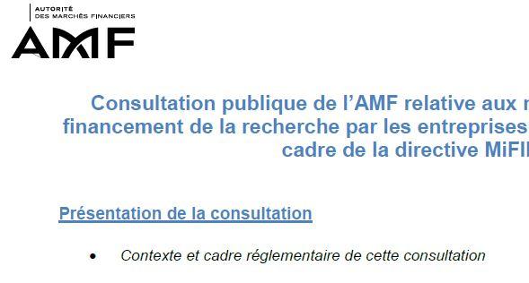 AMF consultation